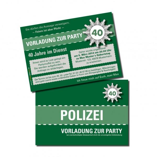 Einladungskarte lustig Geburtstag Vorladung Polizei DIN A6 quer 2-seitig grün