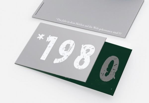 Geburtstag Einladungskarten - 40. Geburtstag Zeitsprung Dunkelgrün Silber