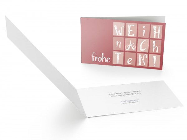 Weihnachtskarte Buchstaben Quadrate