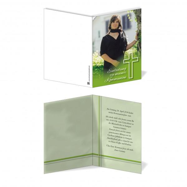 Einladung Einladungskarte Kommunion Kreuz Grün