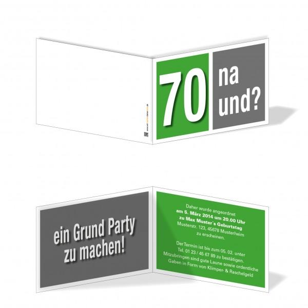 Geburtstag Einladungskarten - 70. Geburtstag Na und? Grün