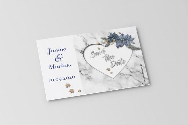 Save the Date Karten Einladung Hochzeit - Marmor-Optik