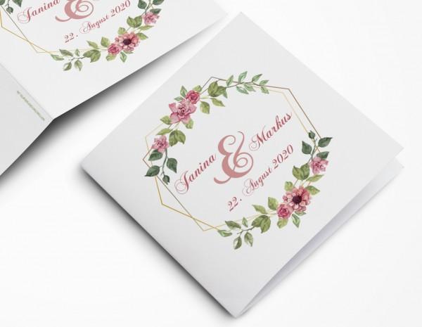 Einladungskarten Hochzeit Hochzeitskarten mit Druck - Blumen Raute