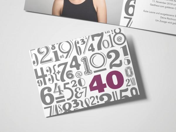 Einladungskarte zum 40. Geburtstag Zahlenwolke in Lila
