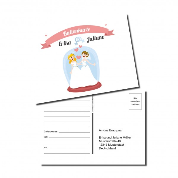 Ballonkarten Luftballon Karten Hochzeit - Frau & Frau