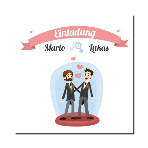 Einladungskarten Hochzeit Hochzeitskarten mit Druck - Mann & Mann Hochzeit