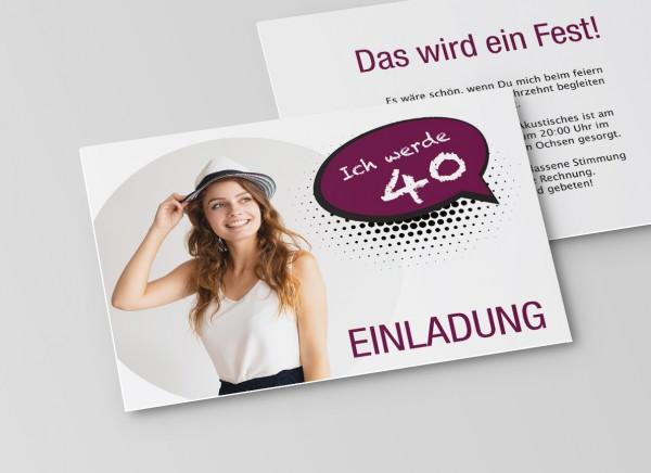 Einladungskarte zum 40. Geburtstag als Sprechblase in Lila