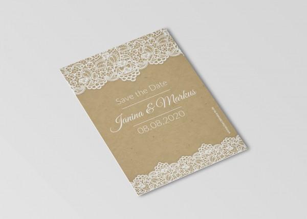 Save the Date Karten Einladung Hochzeit - Retro Spitze