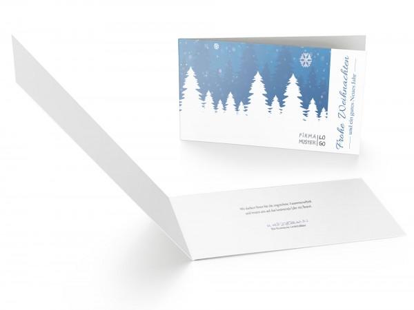 Weihnachtskarte Schneelandschaft Blau