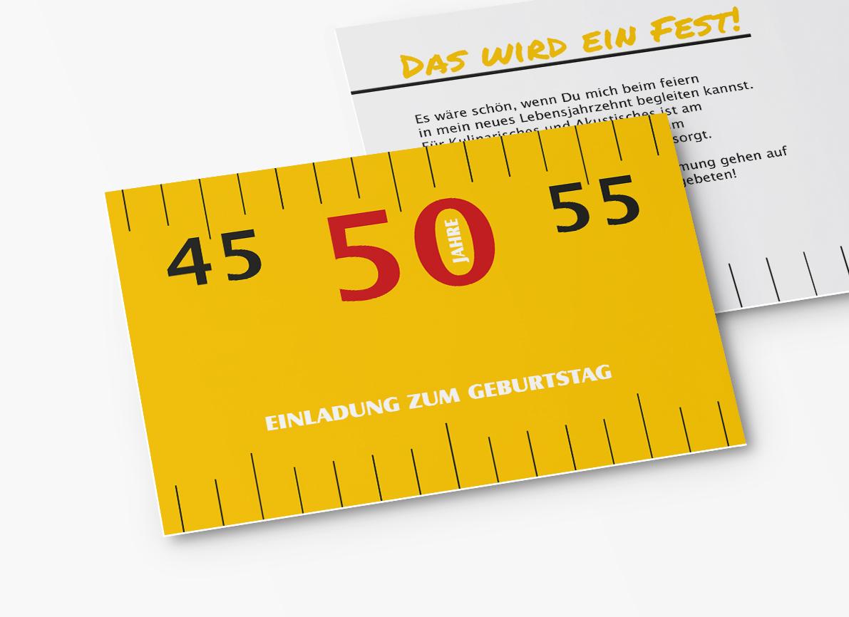 einladungskarten 50. geburtstag meterstab | 50. geburtstag