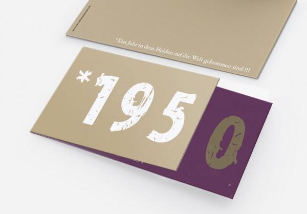 Geburtstag Einladungskarten - 70. Geburtstag Zeitsprung Lila Beige