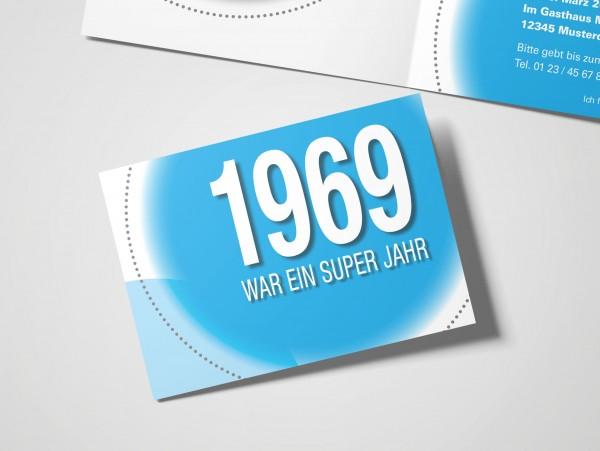Geburtstag Einladungskarten - 50. Geburtstag Super Jahr Cyan