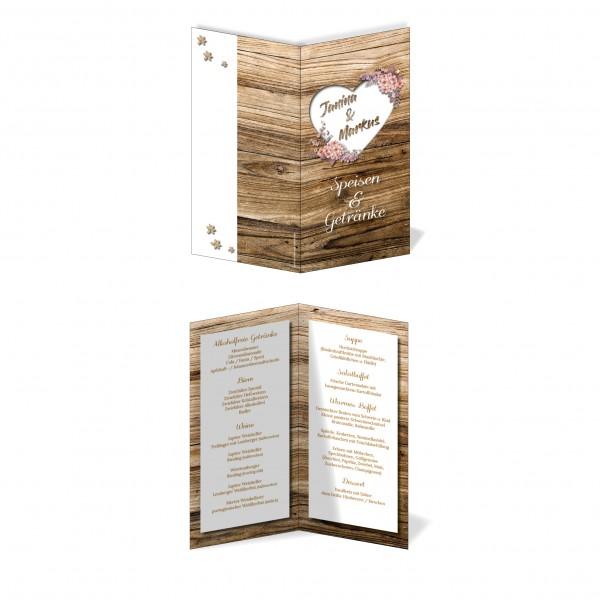 Menükarten Hochzeit - Rustikale Holz-Optik braun