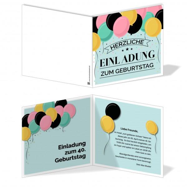 Einladung Einladungskarte Geburtstag Luftballonkarte Vintage