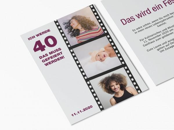 Einladungskarte 40. Geburtstag Filmstreifen Lila