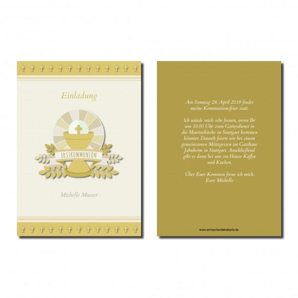 Einladung Einladungskarte Kommunion Kreuz