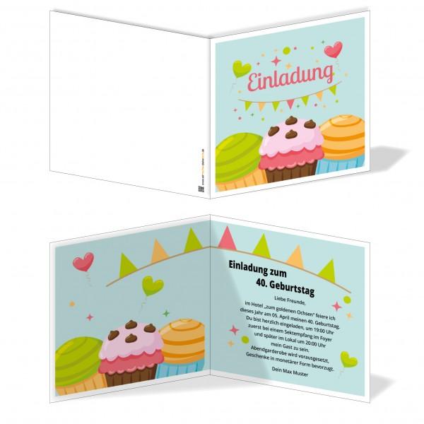 Einladung Einladungskarte Geburtstag Cupcake Traum