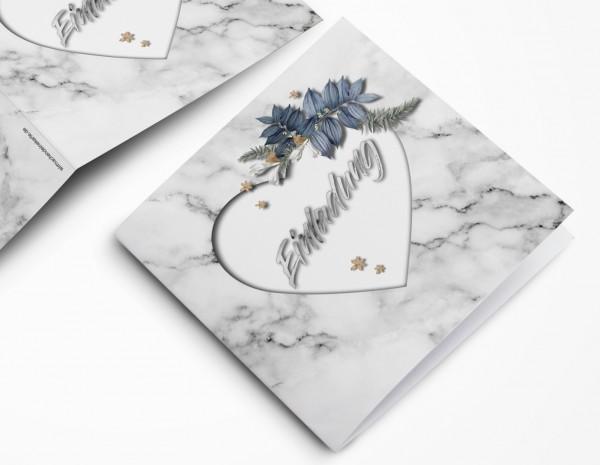 Edle Marmor Hochzeitskarte - Einladungskarte quadratisch in weiß Marmor-Optik
