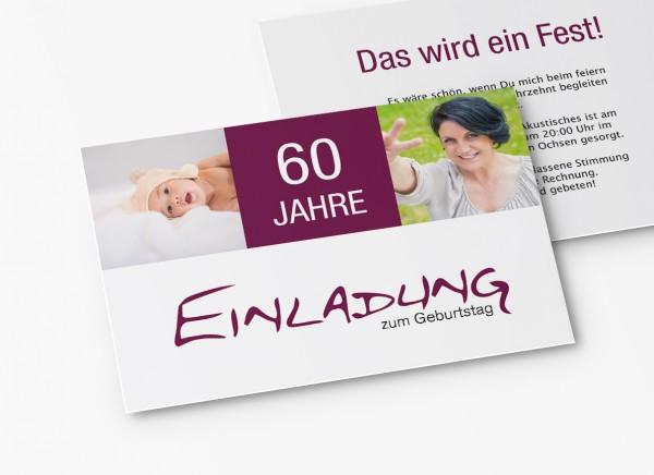 Einladungskarten 60. Geburtstag all die Jahre