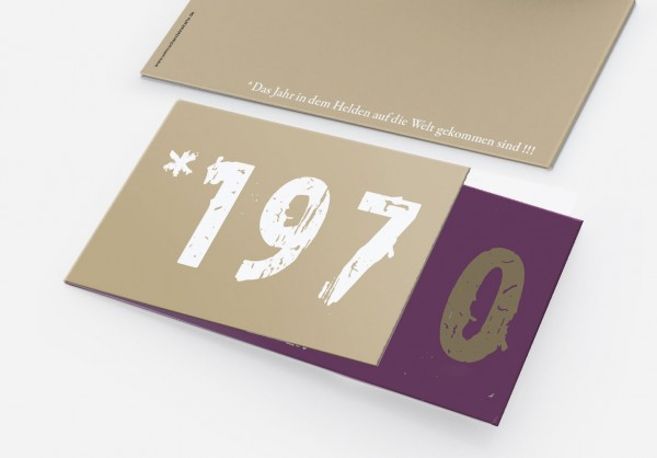 Geburtstag Einladungskarten - 50. Geburtstag Zeitsprung Lila Beige