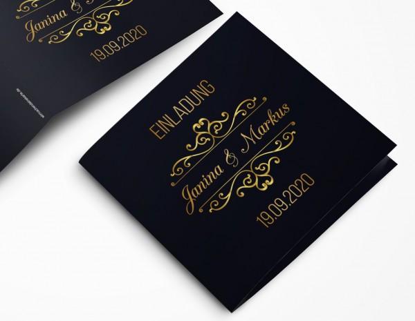 Einladungskarten Hochzeit Hochzeitskarten mit Druck - goldener Auftritt