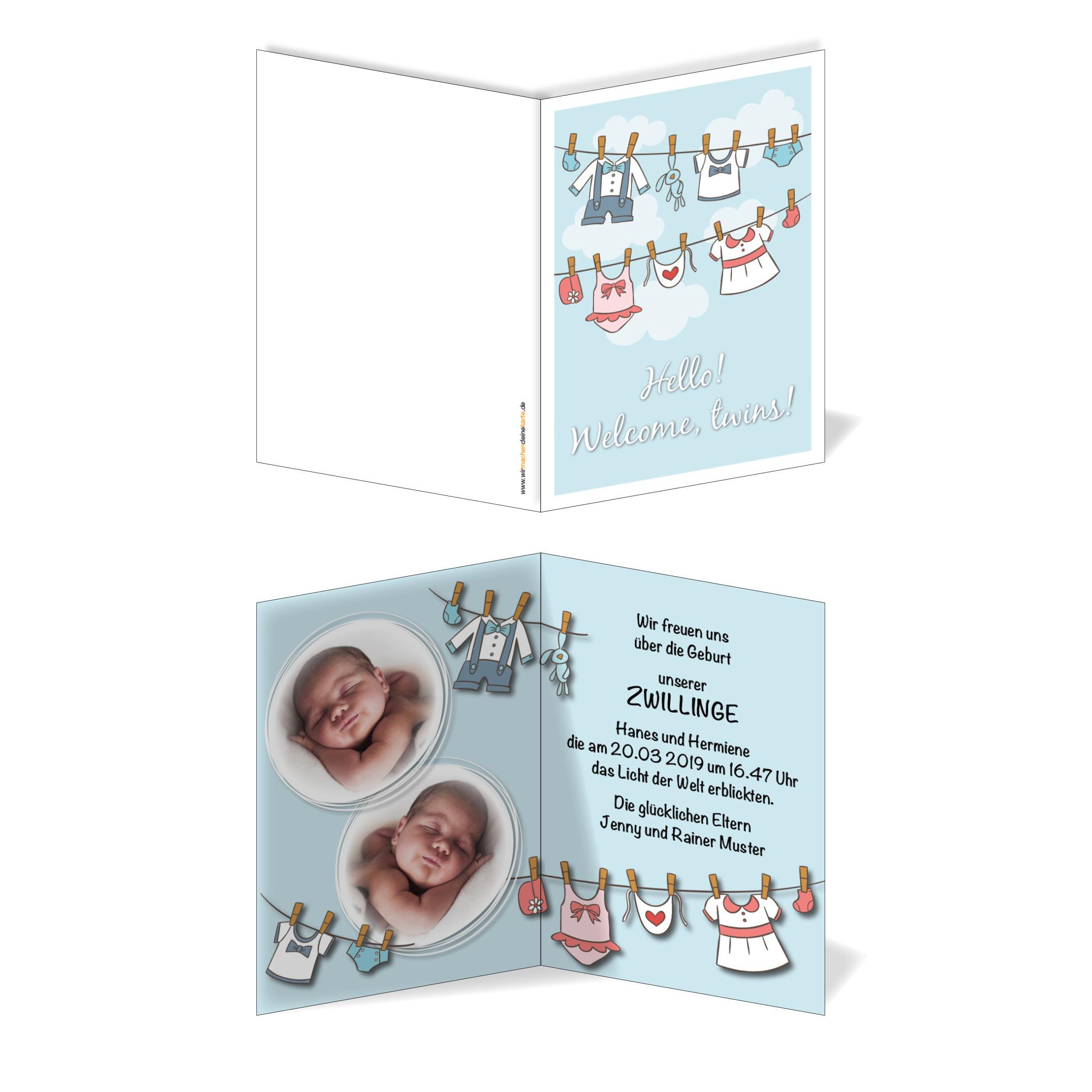 Babykarten.Geburtskarten Babykarten Individuell Zwillinge Wascheleine