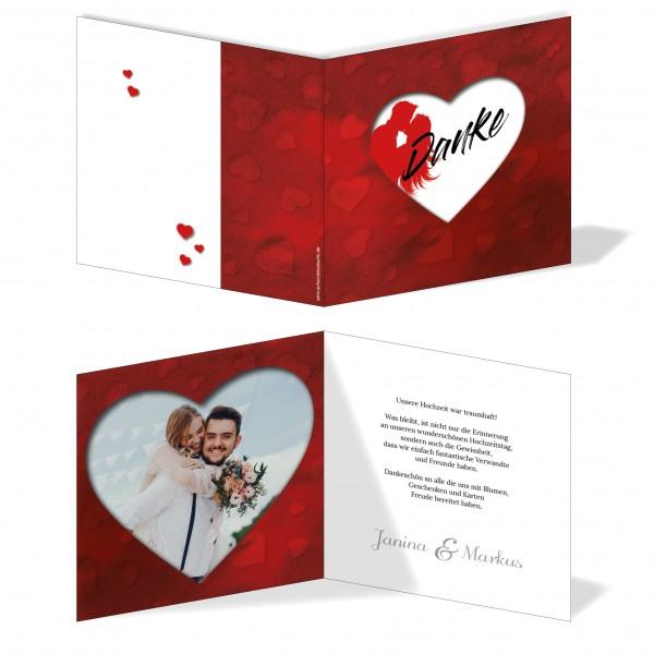 Dankeskarten Hochzeit - Rotes Herz