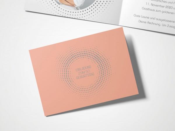 Einladungskarten 50. Geburtstag Kreisrund