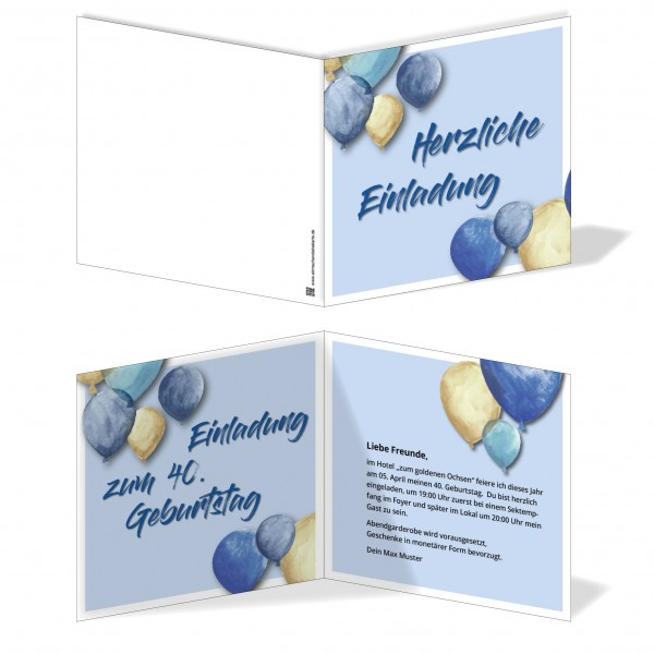 Einladung Einladungskarte Geburtstag Blue Balloon 3