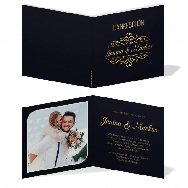 Dankeskarten Danke Hochzeit - Goldener Moment