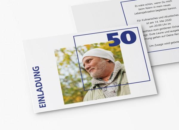 Einladungskarten 50. Geburtstag Quader Gitter