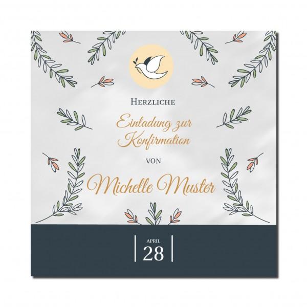 Einladung Einladungskarte Konfirmation Floral
