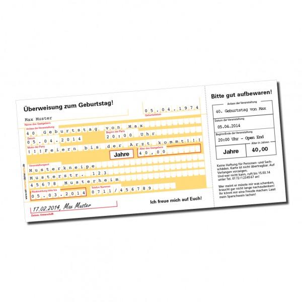 Einladung Einladungskarte lustig Geburtstag Überweisung DIN lang