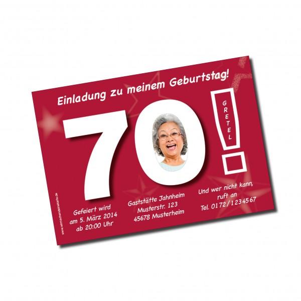 Geburtstag Einladungskarten - 70. Geburtstag Große 70 Rot