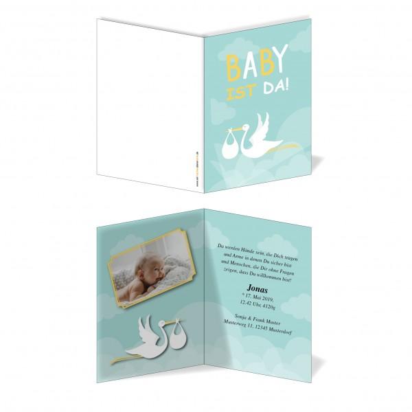Geburtskarten Babykarten individuell - Junge Weißstorch