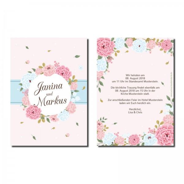 Einladungskarten Hochzeit Hochzeitskarten mit Druck - Blumen Kreis