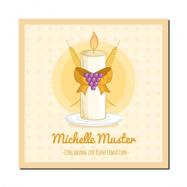 Einladung Einladungskarte Konfirmation Kerze