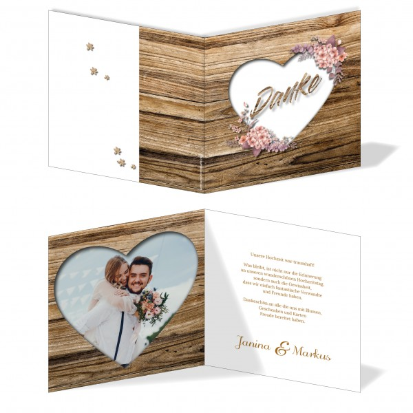 Dankeskarten Hochzeit - Rustikale Holz-Optik braun