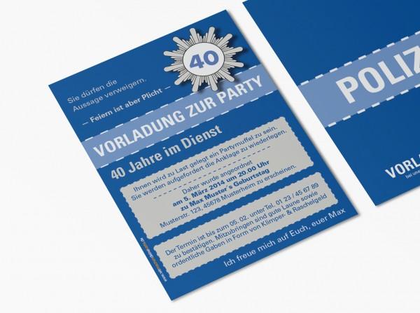Einladungskarte lustig Geburtstag Vorladung Polizei DIN A6 hoch 2-seitig