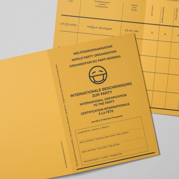 Einladung Einladungskarte als Impfpass für Geburtstag - Hochzeit - Komunion - Konfirmation