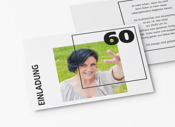 Einladungskarten 60. Geburtstag Quader Gitter