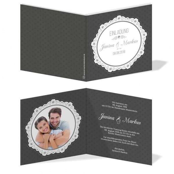 Einladungskarten Hochzeit Hochzeitskarten mit Druck - runde Spitze