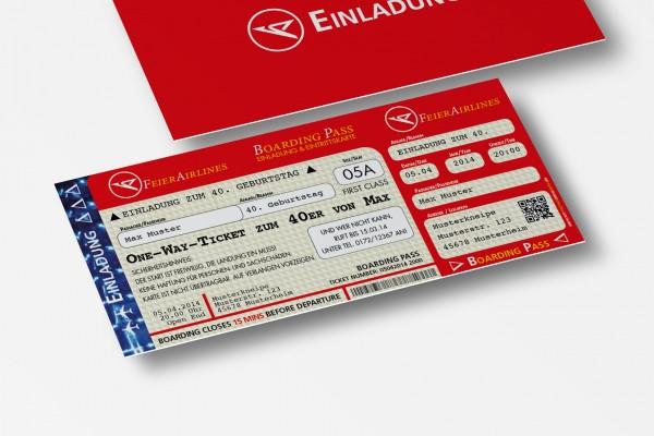 Einladung Einladungskarte lustig Geburtstag FeierAirlines rot