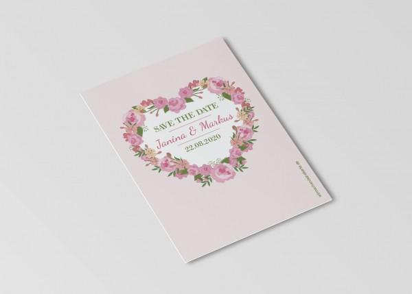 Save the Date Karten Einladung Hochzeit - Blumen Herz