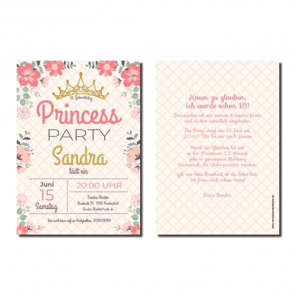 Einladung Einladungskarte 18. Geburtstag Princess