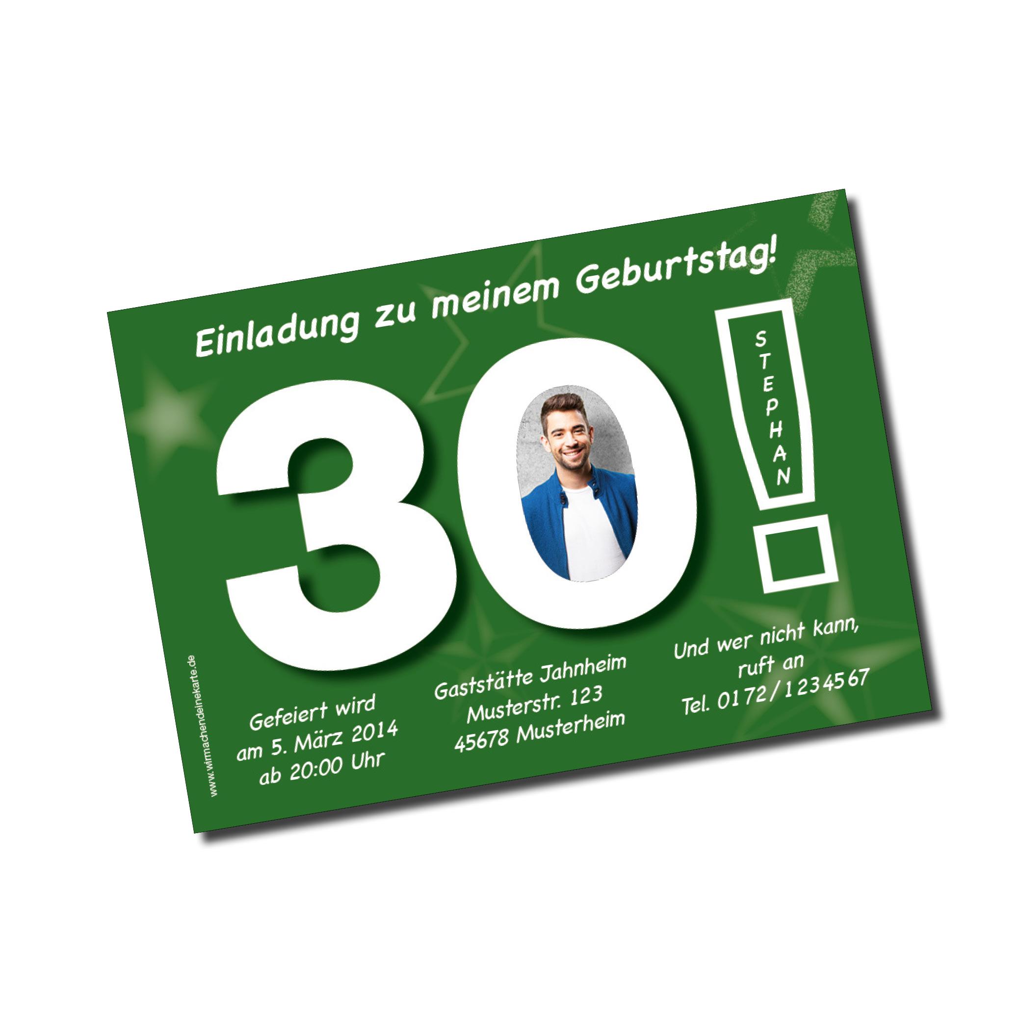 geburtstag einladungskarten - 30. geburtstag große 30 grün