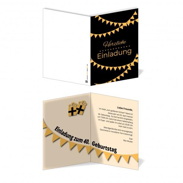 Einladung Einladungskarte Geburtstag Orangene Girlanden