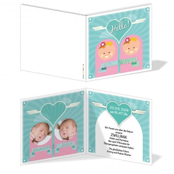 Geburtskarten Babykarten individuell - Zwillinge Welcome Twins Zwei Mädchen