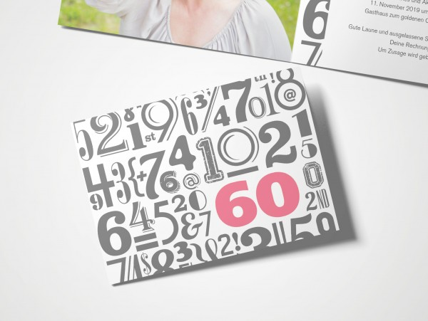 Einladungskarten 60. Geburtstag Zahlenwolke