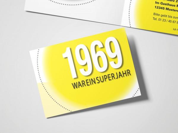 Geburtstag Einladungskarten - 50. Geburtstag Super Jahr Gelb